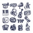 Sketch music icon element collection — Stock Vector #21088421