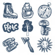 Sketch doodle icon collection, picnic, travel and camping theme - Stock Vector