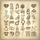 36 hand drawing doodle icon set, wedding sketchy illustration — Stock Vector