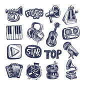 Sketch music icon element collection — Stock Vector
