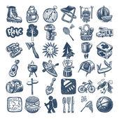 素描涂鸦图标集合、 野餐、 旅行和野营主题 — 图库矢量图片