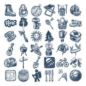 Sketch doodle icon collection, picnic, travel and camping theme — Vecteur