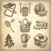 Skizzieren sie doodle-ikonen-sammlung, picknick, reisen und camping thema — Stockvektor