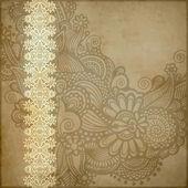 华丽的花卉背景与装饰条纹 — 图库照片