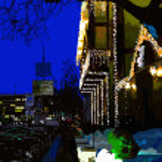 Digital painting of nightly city, evening Kyiv, Ukraine — Stock Vector #22211719