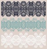 коллекция бесшовных декоративные цветочные полосы — Cтоковый вектор