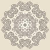 Cirkel spetsar prydnad, runda dekorativa geometriska tallriksunderlägg mönster — Stockvektor