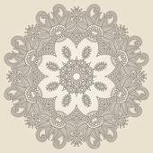 Ornament koronki koło, okrągły ozdobnych geometrycznej serwetka pattern — Wektor stockowy