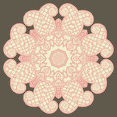 Circle lace ornament, round ornamental geometric doily pattern — Vector de stock
