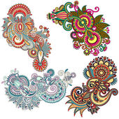 Original hand draw line art ornate flower design. Ukrainian trad — Stock Vector