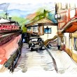 Original watercolor painting of old street of Gurzuf - Stock Photo