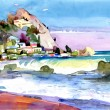 Original watercolor painting of gale at the seaside — Stock Photo