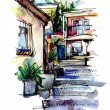 Royalty-Free Stock Photo: Watercolor painting on paper of old street in Gurzuf