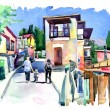 Original watercolor painting of old street in Gurzuf — Stock Photo