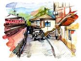 Originele aquarel schilderij van oude straat van hoerzoef — Stockfoto