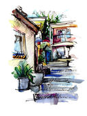 Watercolor painting on paper of old street in Gurzuf — Stock Photo