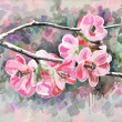 Stock Photo: Original painting of flower, watercolor style