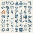49 hand draw sketch summer icons collection - Stockvectorbeeld