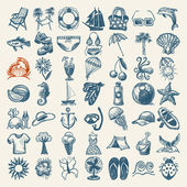 49 hand draw sketch summer icons collection — Stock Vector