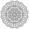 Circle lace black and white ornament, round ornamental geometric doily pattern — Imagen vectorial
