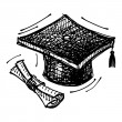 Black sketch drawing of cap of master's degree — Stok Vektör