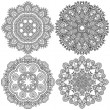 Circle black and white ornament, ornamental round lace collection — Stock Vector