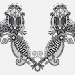 Neckline grey embroidery fashion, black and white collection — Imagen vectorial