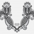 Neckline grey embroidery fashion, black and white collection — Image vectorielle