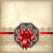Holiday background with red ribbon and floral ornament on grunge background — Stock Vector