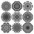Circle lace ornament, round ornamental geometric doily pattern, black and white collection — Stock Vector