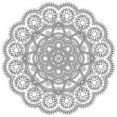 Circle lace black and white ornament, round ornamental geometric doily pattern — Stock Vector