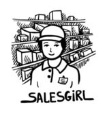 Black and white doodle sketch ink drawing of salesgirl, engraving style — Stock Vector
