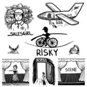 Collection black and white doodle sketch ink drawing of risky, salesgirl, scene, actress, escape, travel, engraving style — Stock Vector