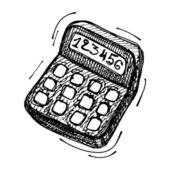 Black sketch drawing of calculator — Stock Vector
