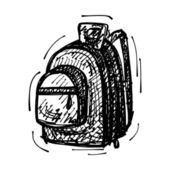 Black sketch drawing of backpack — Stock vektor