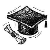 Black sketch drawing of cap of master's degree — Vector de stock