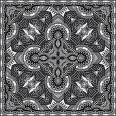 Grey ornamental floral paisley bandanna. You can use this pattern in the design of carpet, shawl, pillow, cushion, black and white collection — Stock Vector