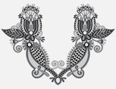 Neckline grey embroidery fashion, black and white collection — Stock Vector