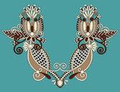 Neckline embroidery fashion — Vecteur