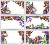 Collection of colorful floral ornamental business card element — Stockvector
