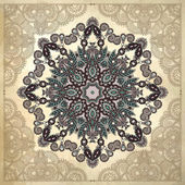 Flower circle design on grunge background with lace ornament — Stok Vektör
