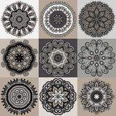 Circle ornament, ornamental round lace collection — 图库矢量图片
