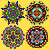 Circle ornament, ornamental round lace collection — Cтоковый вектор