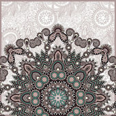 Ornamental template with circle floral background — ストックベクタ
