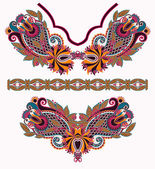 Neckline embroidery fashion — Vector de stock