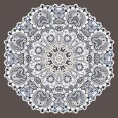 Kruh krajky ornament, kulaté okrasné geometrické ubrousek vzor — Stock vektor