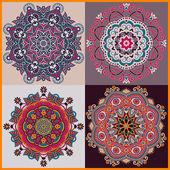 Ornamento del círculo, colección ornamental del cordón redondo — Vector de stock