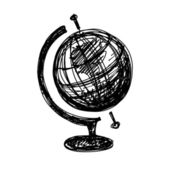Black sketch drawing of globe — ストックベクタ