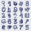 25 sketch education icons, numbers and objects — Vettoriali Stock