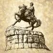 Original sketchy digital drawing of historic monument of famous Ukrainian hetman Bogdan Khmelnitsky, Kyiv (Kiev), Ukraine — Stock Vector